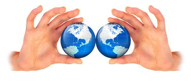 Planet earth in the hand Stock Photos