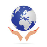 Planet earth with hand  Royalty Free Stock Photography