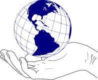 Planet earth in the hand Occident sketch. Sketch of the western hemisphere globe of the planet earth in hand vector illustration