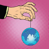 Planet earth in hand on the rope Royalty Free Stock Photography