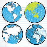 Planet earth hand writing world map Royalty Free Stock Photography