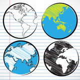 Planet earth hand writing world map Stock Photos