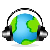 Planet earth in headsets on a white background Stock Photography