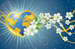 Planet earth in heart form with spring flowers and Stock Photos