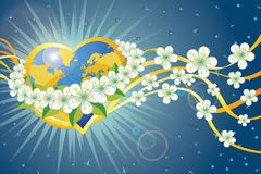 Planet earth in heart form.Wreath of spring flower Stock Photography
