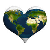 Planet earth in heart shape Royalty Free Stock Photography