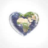Planet earth heart shape. On white background Stock Photos