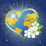 Planet earth in the heartsform with spring flovers Stock Photography