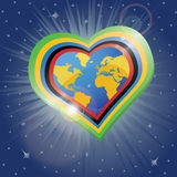 Planet earth in the heartsform in Olympic rings Stock Photos