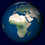 Planet Earth with highlight in Africa Stock Photo
