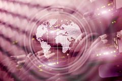 Planet Earth Hologram Globe Global communication World Wide Business concept.  royalty free stock photo