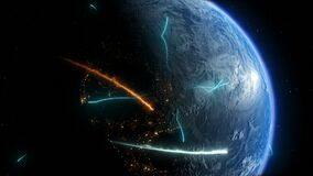 Planet Earth, with holographic elements of communication media, maps and textures provided NASA
