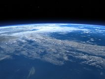 Planet earth horizon in space - 3D render Stock Photography