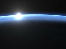 Planet earth horizon with sunrise in space - 3D. Planet earth horizon with sunrise in space, elements of this image furnished by NASA- 3D render Stock Photography