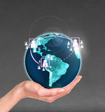 Planet earth in a human hand Royalty Free Stock Photo