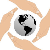 The planet Earth and the human hands 24.06.13. Image which shows the planet Earth and the human hands Royalty Free Stock Image