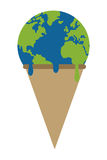 Planet earth ice cream melting icon. Simple flat design planet earth ice cream melting icon  illustration Royalty Free Stock Photos