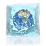Planet Earth in ice cube. 3d illustration Stock Photography