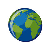 Planet Earth icon isolated on white background. Planet Earth globe map with blue ocean and green continents, view from space. Cartoon style vector illustration Stock Images