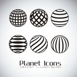 Planet earth icons Stock Photos