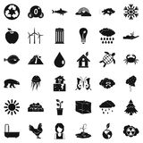 Planet earth icons set, simple style Stock Photo