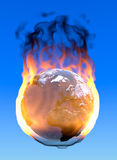 Planet earth. Illustration of planet earth in flames with blue background Stock Photography