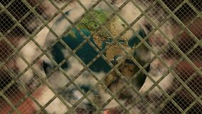 Planet Earth imprisoned. In the technological cage and pollution Royalty Free Stock Photos
