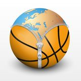 Planet Earth inside basketball ball Stock Photos