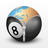 Planet Earth inside billiard ball Royalty Free Stock Photo