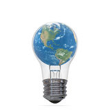 Planet Earth inside lightbulb Stock Photography