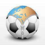 Planet Earth inside soccer ball Stock Image