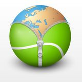 Planet Earth inside tennis ball. Vector sport Illustration Royalty Free Stock Photo