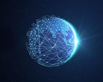 Planet earth, Internet Concept of global business isolated. On white, connection symbols communication lines Royalty Free Stock Photography