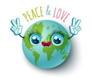 Planet Earth in kawaii style Royalty Free Stock Image