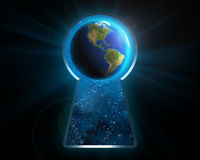 The planet earth through the keyhole. Stock Photos