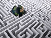 Planet earth in the labyrinth maze Stock Photography