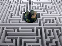 Planet earth in the labyrinth maze Royalty Free Stock Photography