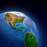 Planet Earth landforms. Detailed picture of the Earth and its landforms, view of American continent. Elements of this image furnished by NASA Royalty Free Stock Photography