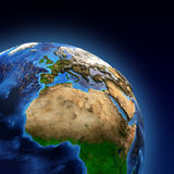 Planet Earth landforms. Detailed picture of the Earth and its landforms, view of European, African and Asian continent. Elements of this image furnished by NASA Stock Photo