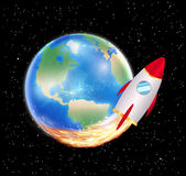 Planet earth with launching space rocket vector Stock Photography