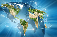 Planet earth and light. Best Internet Concept of global business from concepts series Stock Photos
