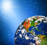 Planet earth and light Stock Photo