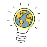 Planet earth in light bulb  cartoon. Royalty Free Stock Image