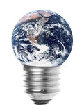 Planet Earth Light Bulb Isolated. Isolated macro image of planet earth and a light bulb Royalty Free Stock Photo