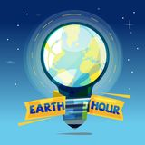 Planet earth in light bulb. save energy. earth hour cocnept - ve. Planet earth in light bulb. save energy. earth hour coccept -  illustration Royalty Free Stock Photography