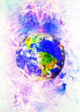 Planet earth in light circle. Computer collage. Earth concept. Marble effect. Stock Photography