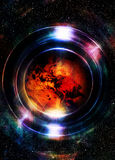 Planet Earth in light circle, Cosmic Space background. Computer Royalty Free Stock Image