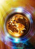 Planet Earth in light circle, Cosmic Space background. Computer Royalty Free Stock Photography