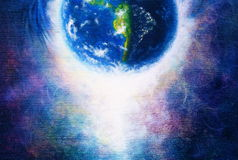 Planet earth in light, Cosmic Space background. Original painting on canvas. Earth concept. Stock Image