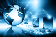 Planet earth and light. Laptops. Best Internet Concept of global business from concepts series Stock Images